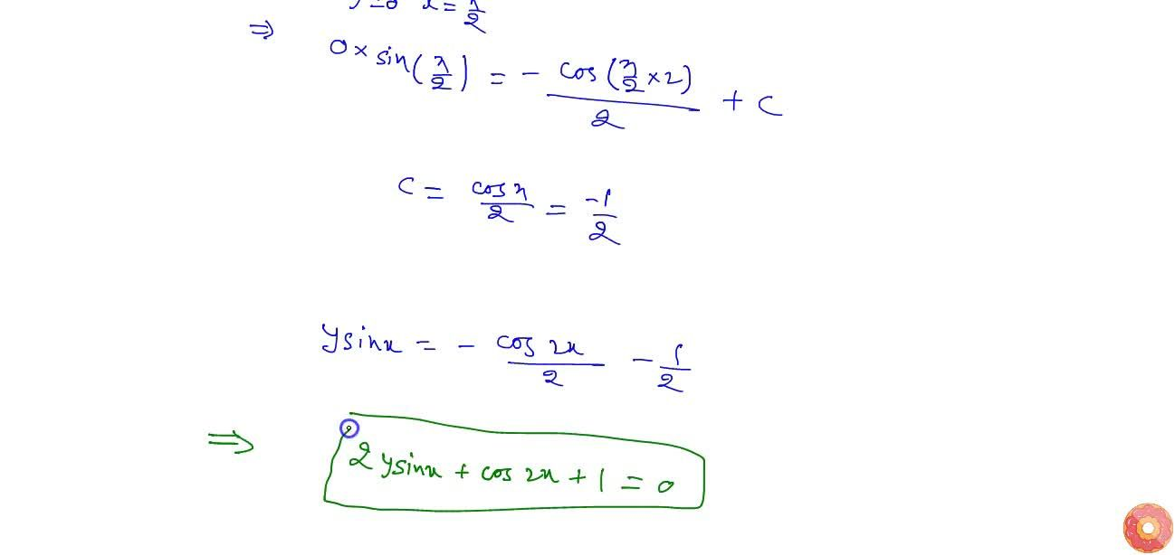 Solution for Solve the   differential equation (dy),(dx)+ycot