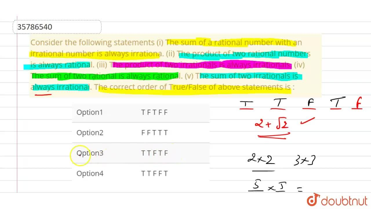 Solution for Consider the following statements   (i) The sum of