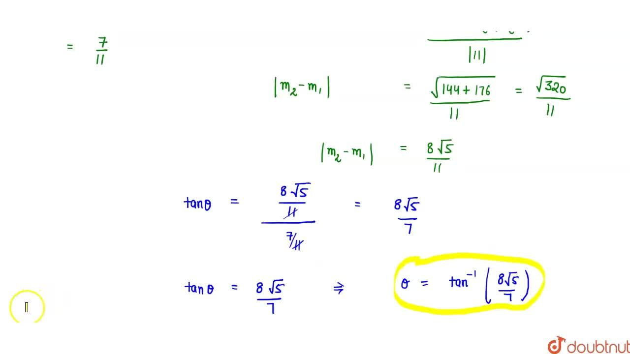 Solution for The angle between the tangents drawn form the poin