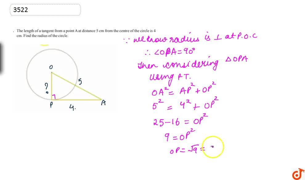 Solution for The length of a tangent from a point A at distance