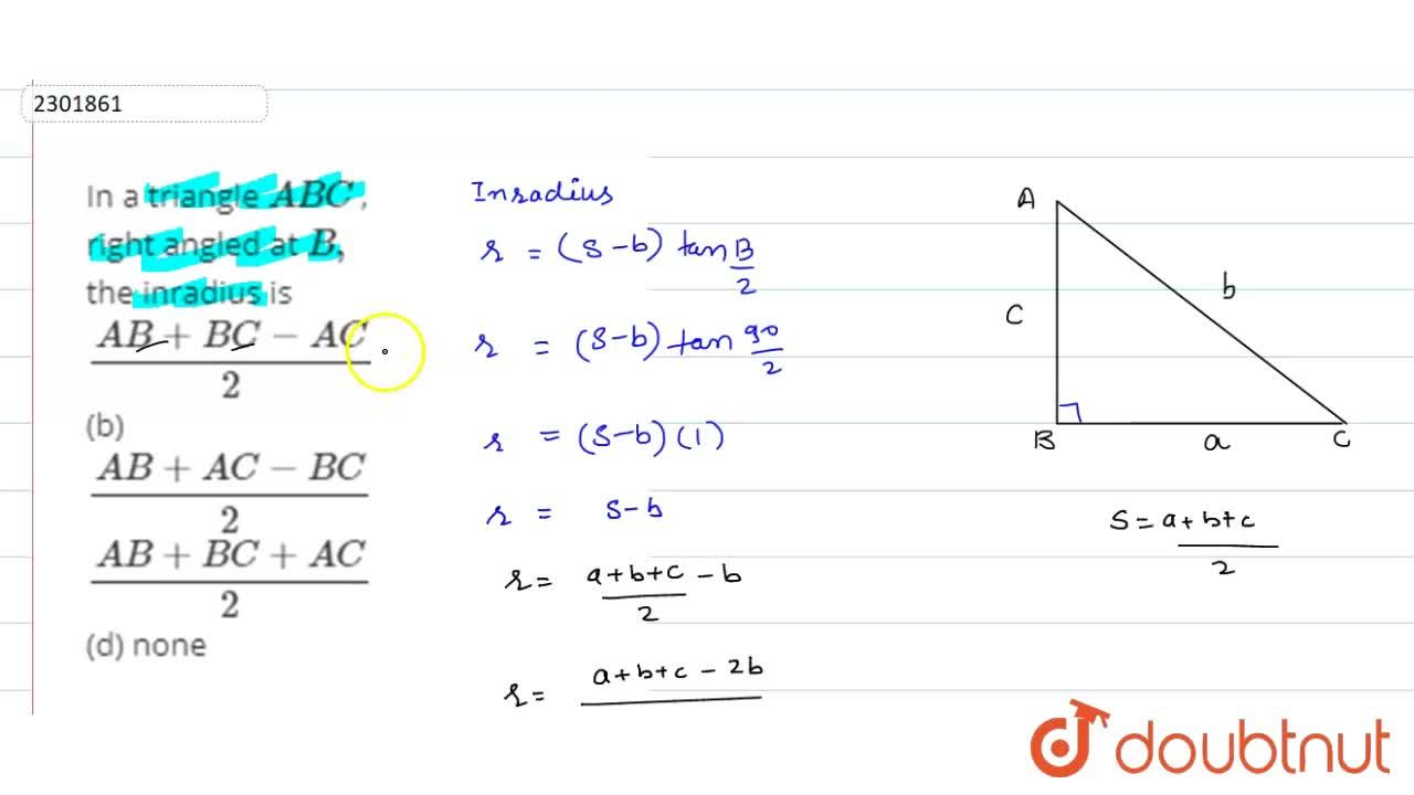 Solution for In a triangle A B C , right angled at B , the