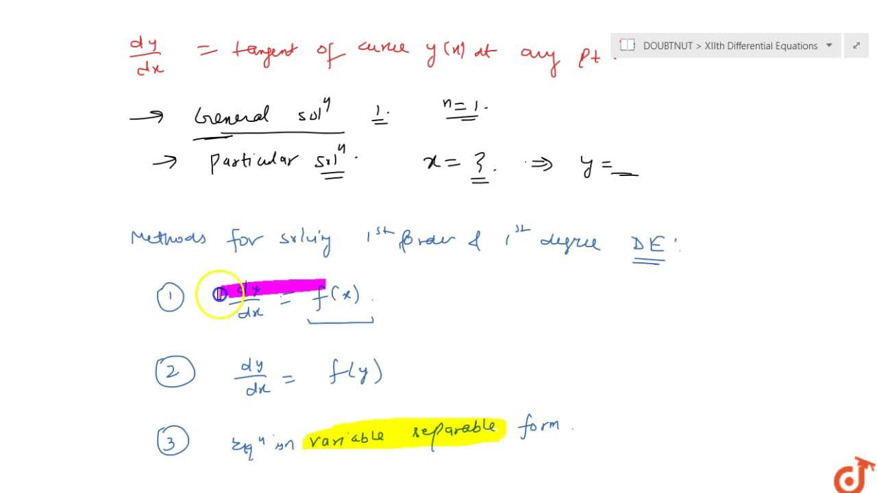 General form of 1st order and 1st degree differential equation; geometrical interpretation and the solution
