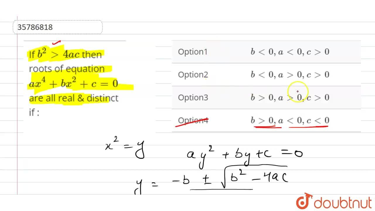If b^(2)gt4ac then roots of equation ax^(4)+bx^(2)+c=0 are all real & distinct if :