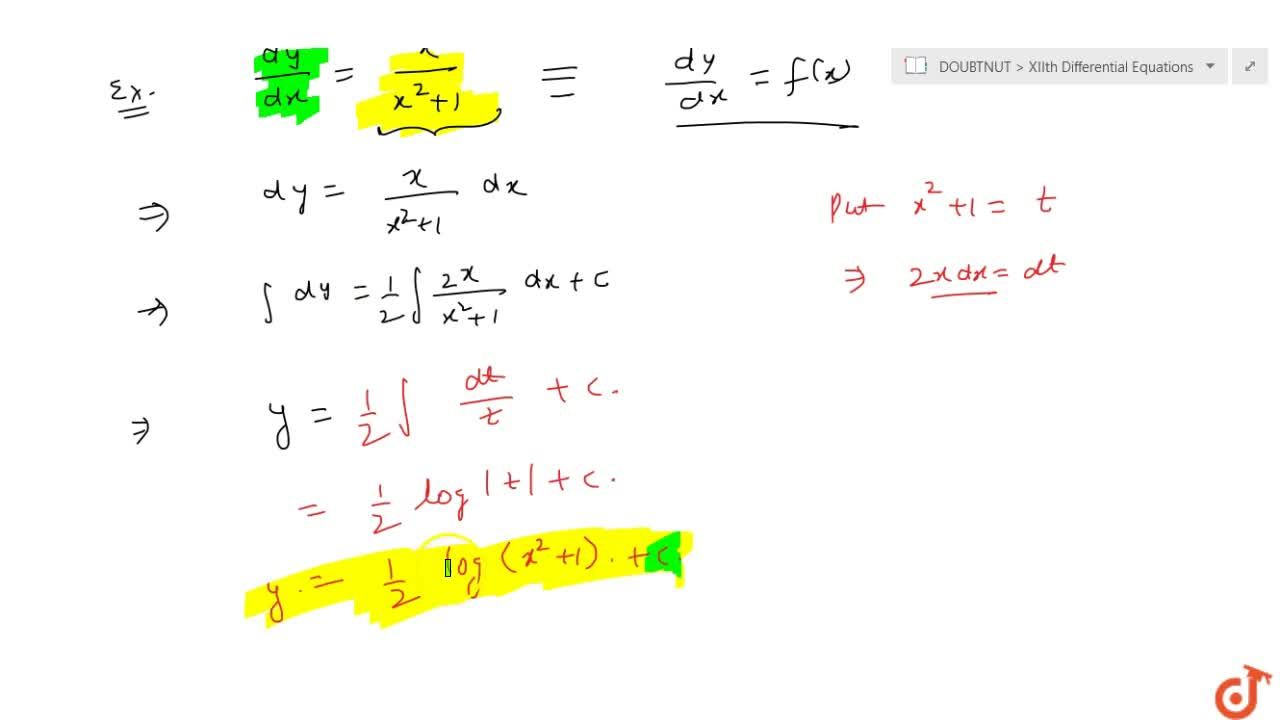 Differential equations of the type dy , dx = f(x)