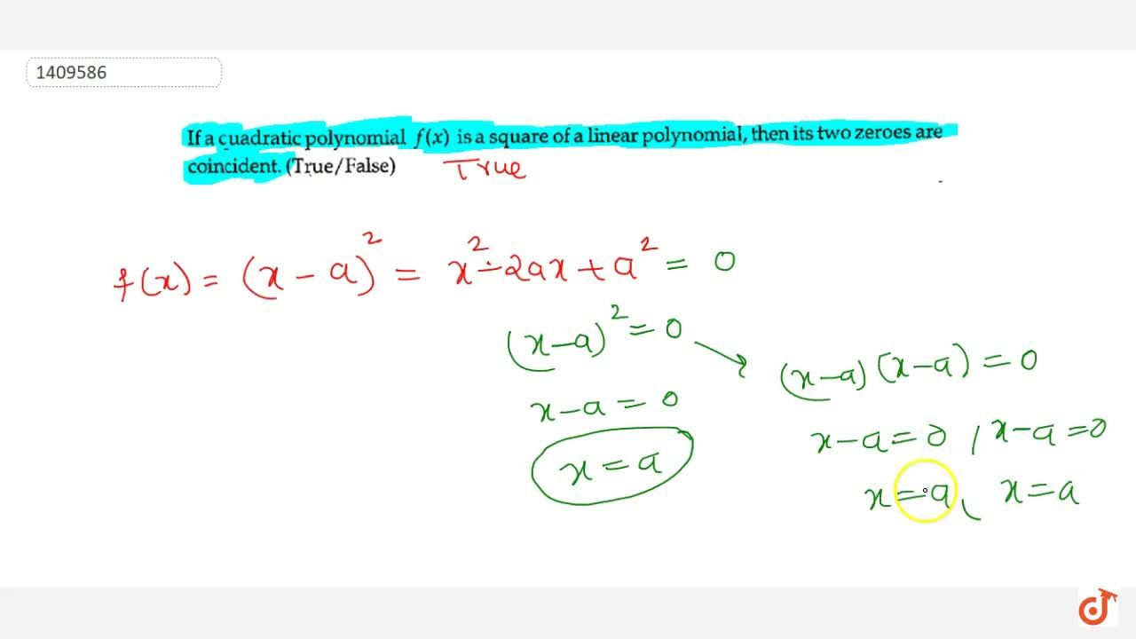 Solution for If a quadratic polynomial f(x) is a   square of