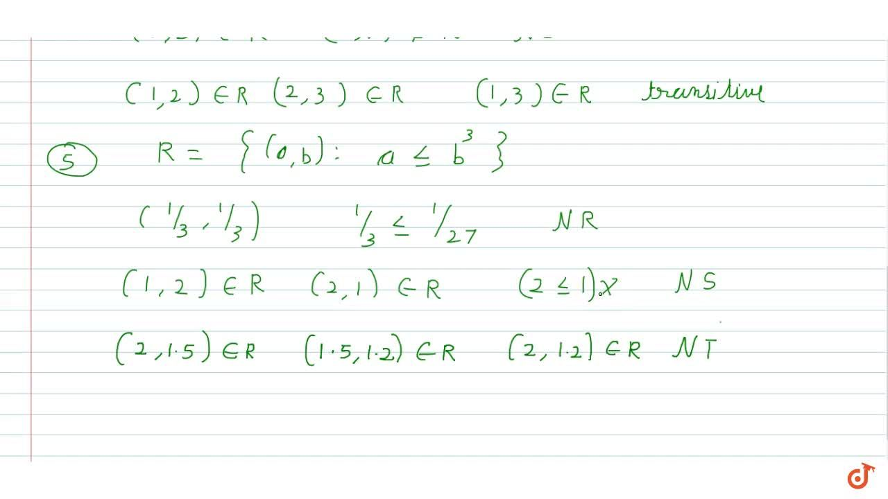 Solution for Check whether the relation R in R defined by R={(