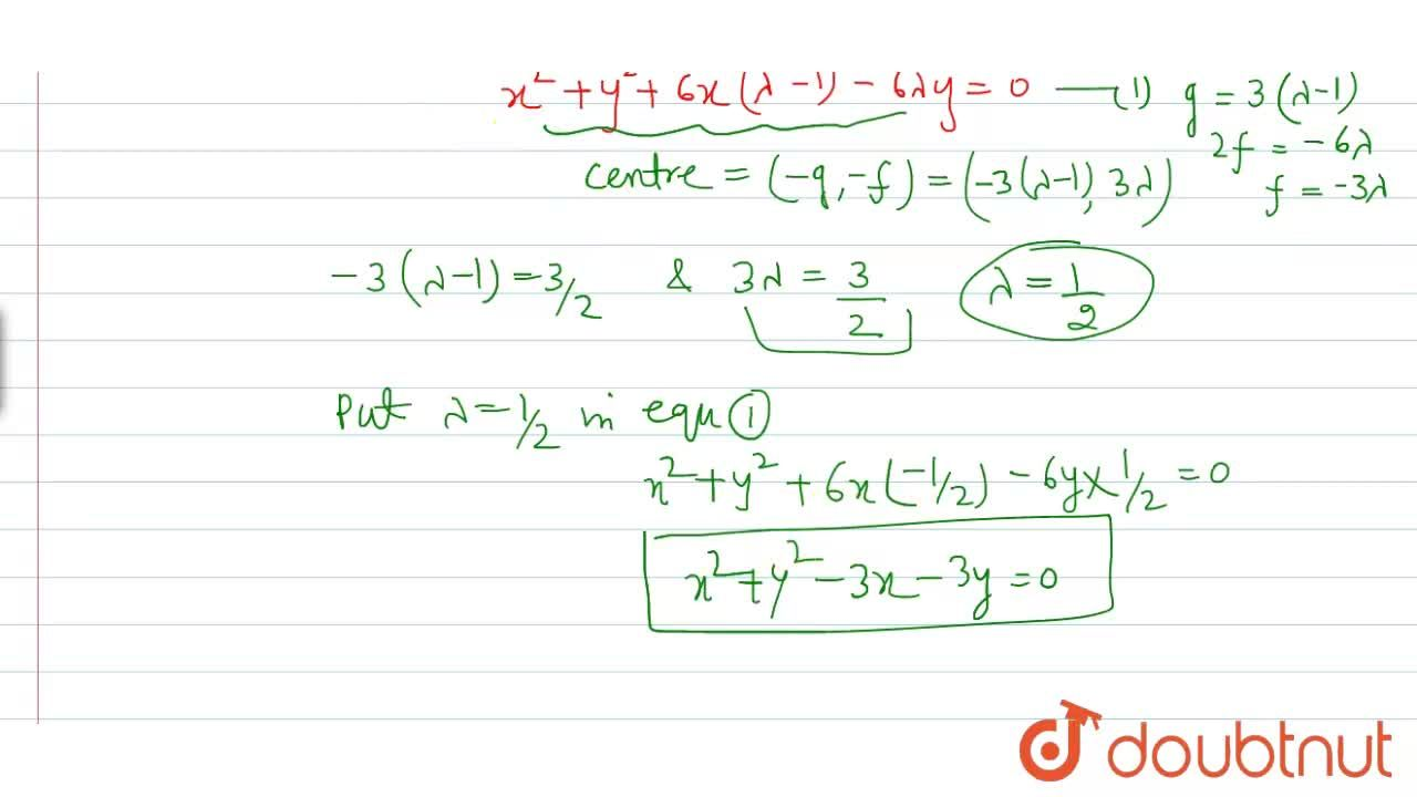 The equation of the circle which passes through the points of intersection of the circles x^(2)+y^(2)-6x=0 and x^(2)+y^(2)-6y=0 and has its centre at (3,2, 3,2), is