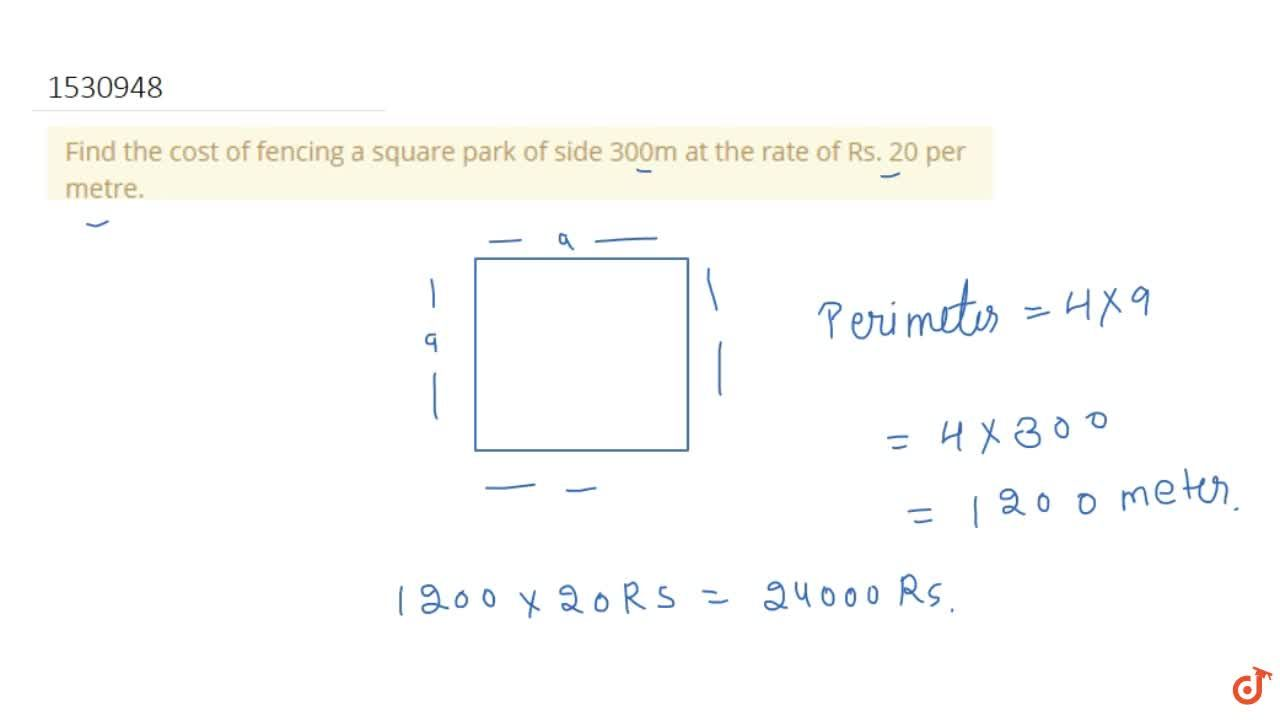 Solution for Find the cost of fencing a square park of side