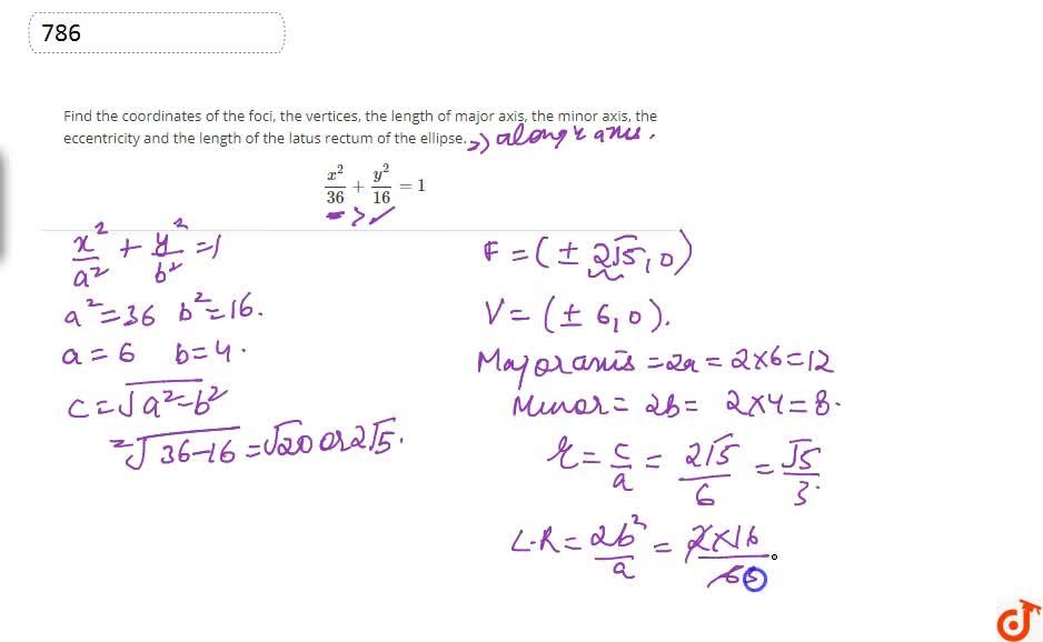 Solution for Find the coordinates of the foci, the vertices, th