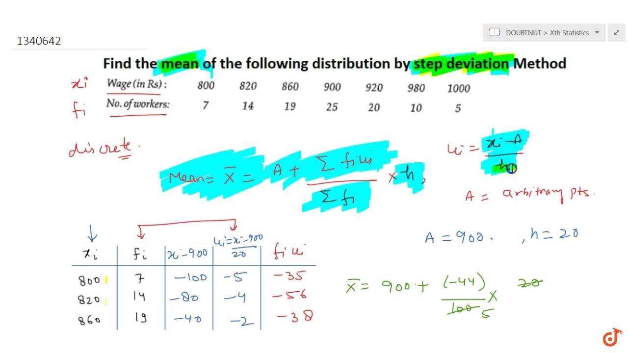 Find the mean of the following distribution by Step-Deviation Method