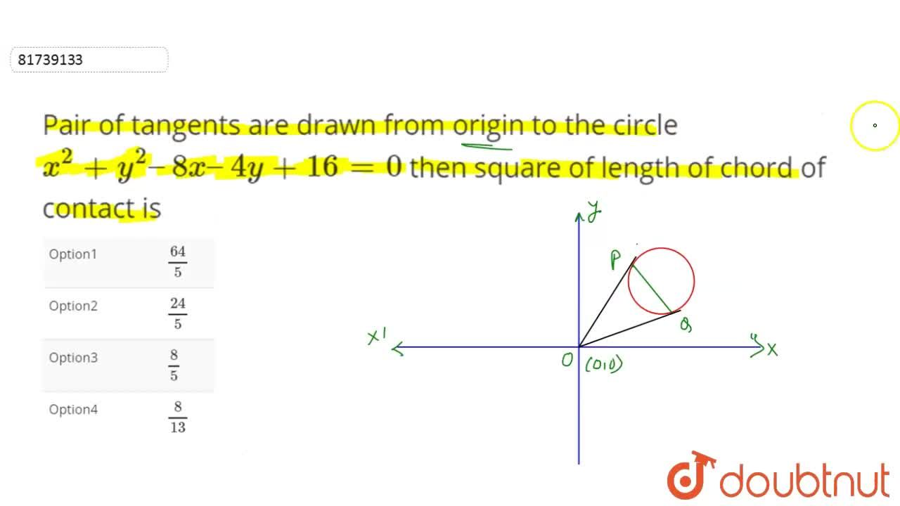 Solution for Pair of tangents are drawn from origin to the circ
