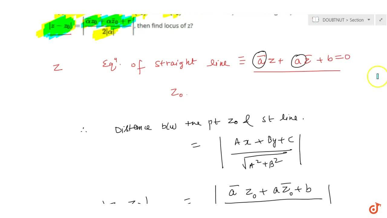 Solution for If P(z) is a variable point and A(z_1)and B(z_2)