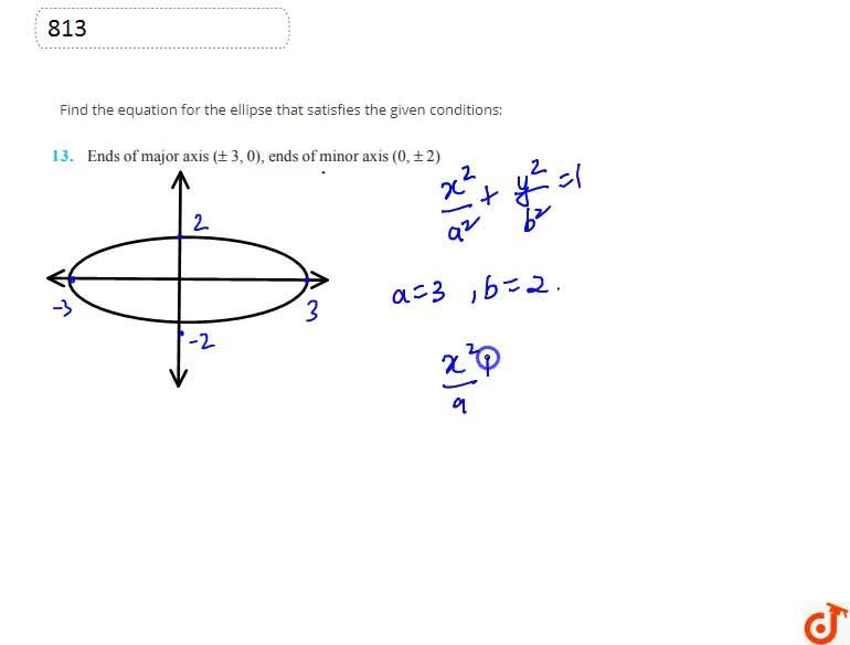 Find the equation for the ellipse that satisfies the given  conditions:Ends of major axis (+-3,0), ends of minor axis (0,+-2)