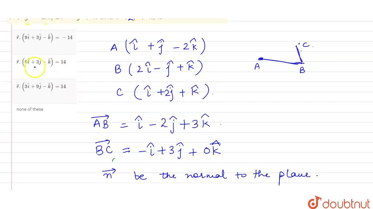 Solution for The vector equation of the plane passing through t