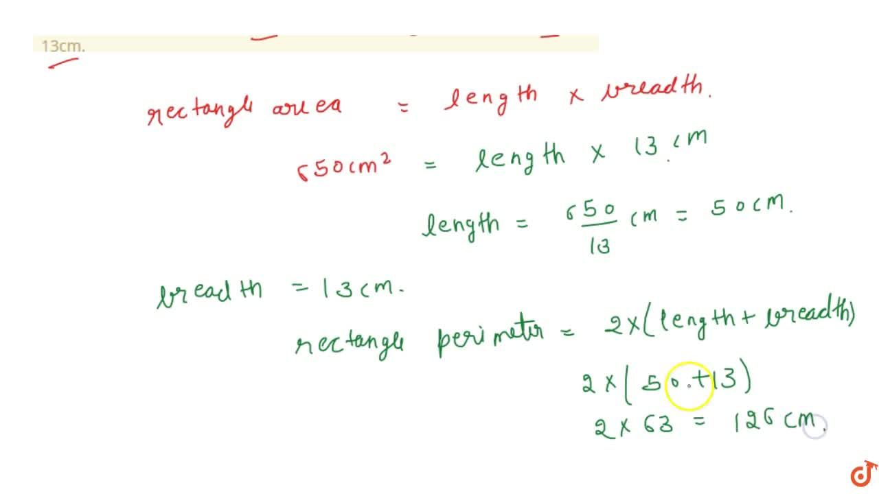 Solution for Find the perimeter of a rectangle whose area is
