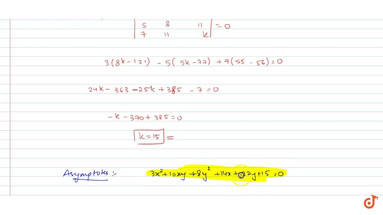Solution for Find the equations of the asymptotes of the hyperb
