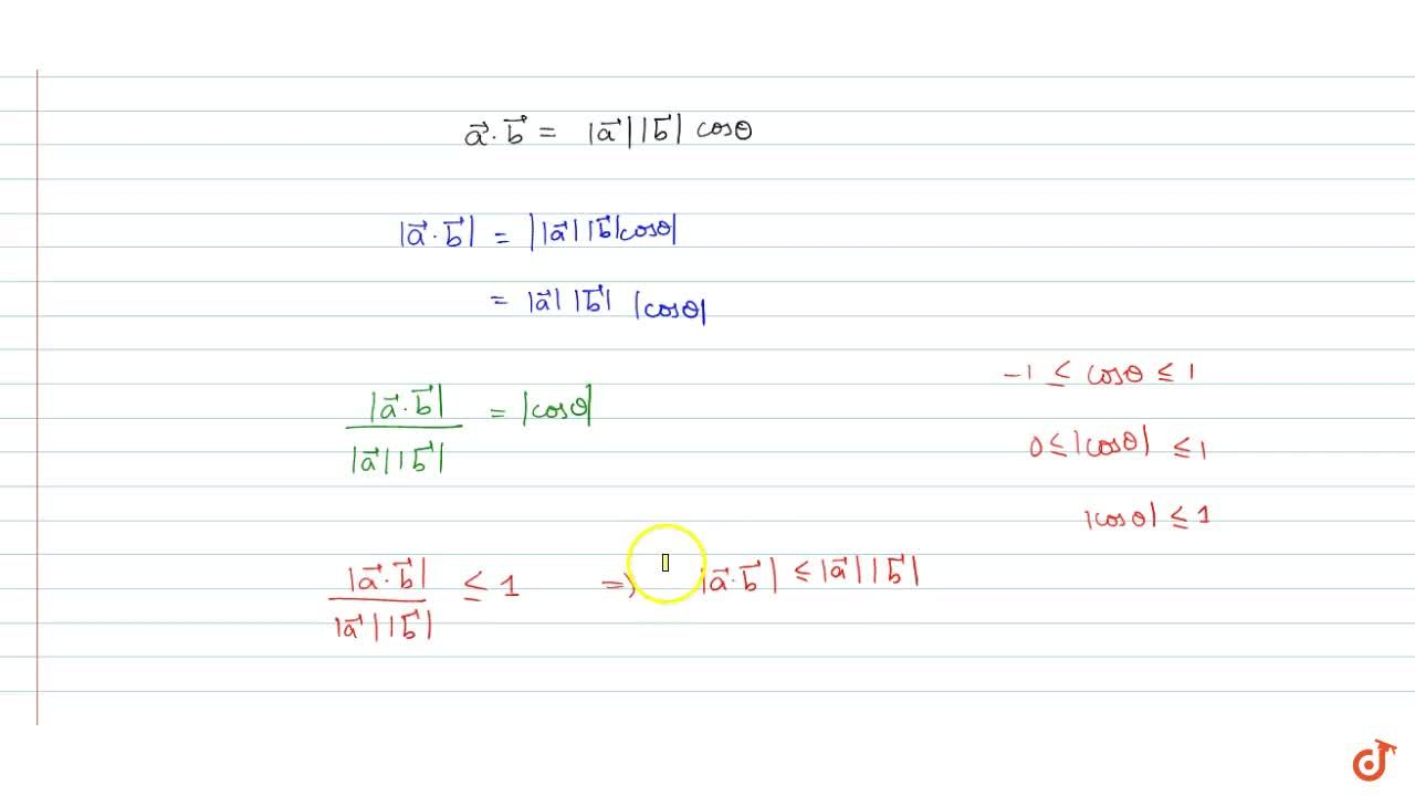 For any two vectors  -> aand  -> bwe always  have | -> adot -> b|lt=| -> a|| -> b|(Cauchy-Schwartz inequality).