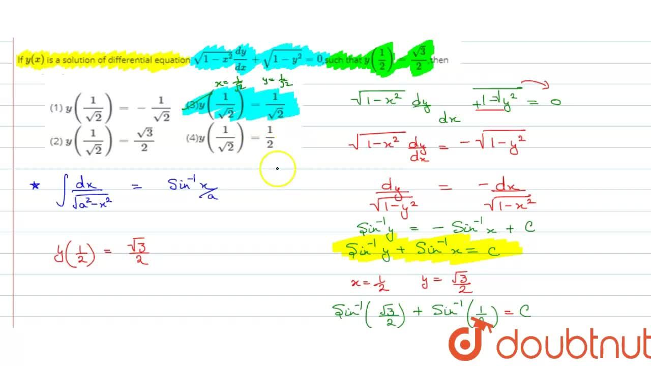 Solution for If y(x) is a solution of differential equation