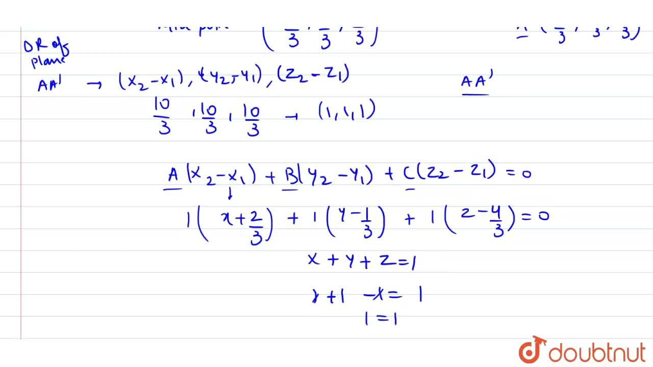 Solution for Image of (1, 2, 3) w.r.t a plane is (-7,3,-4,3,