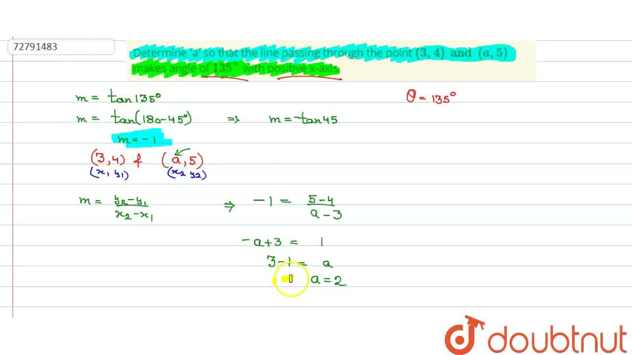 Solution for Determine 'a' so that the line passing through the