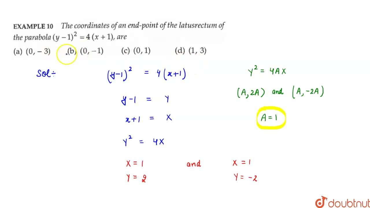 Solution for The coordinates of an end-point of the latusrectum
