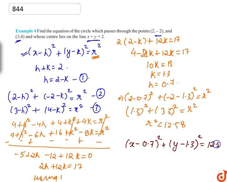 Solution for Find the equation of the circle which passes throu
