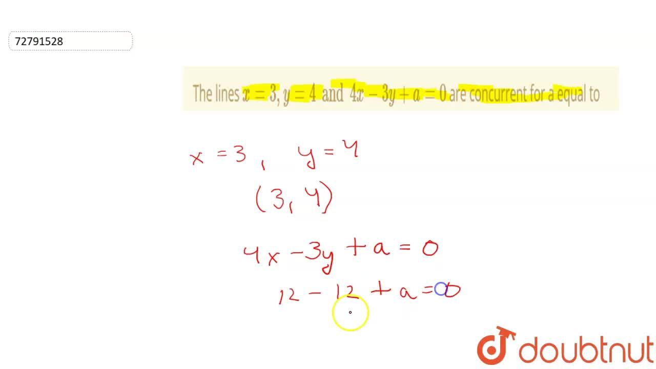 Solution for The lines x=3,y=4and 4x-3y+a=0 are concurrent fo