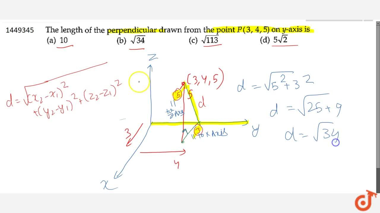 Solution for   The length of the perpendicular drawn from the p