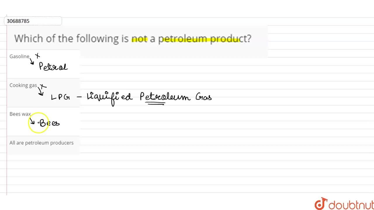 Solution for Which of the following is not a petroleum product?