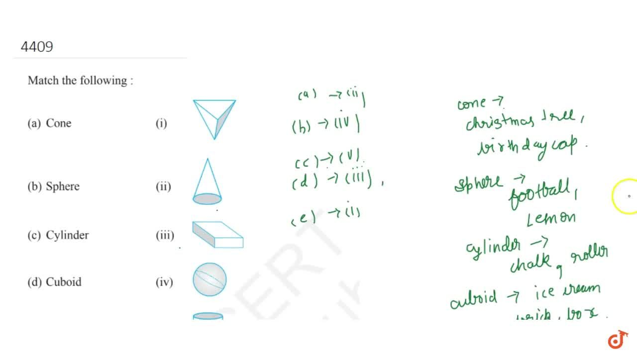 Solution for Match the following :(a) Cone (i
