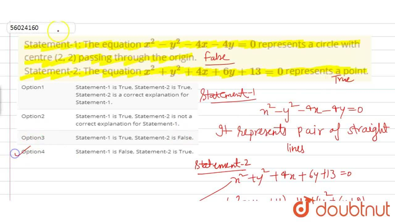 Solution for Statement-1: The equation x^(2)-y^(2)-4x-4y=0 re