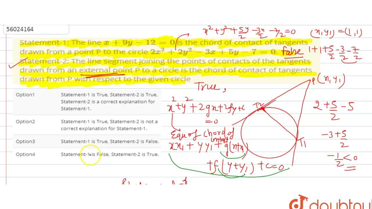 Solution for Statement-1:  The line x+9y-12=0 is the chord of