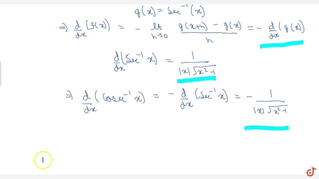 This Video will cover the following concepts - DERIVATIVE OF SOME STANDARD FUNCTIONS