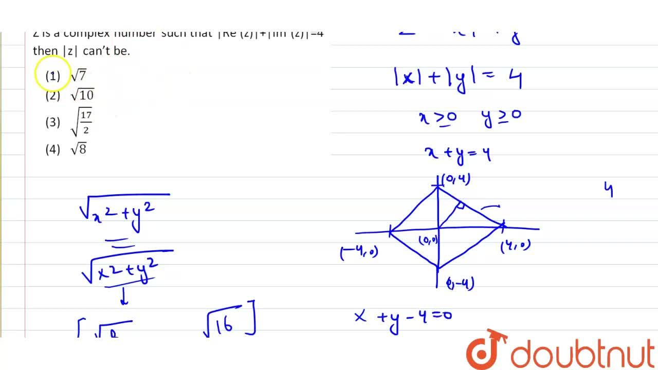 Solution for z is a complex number such that |Re(z)| + |Im (z)