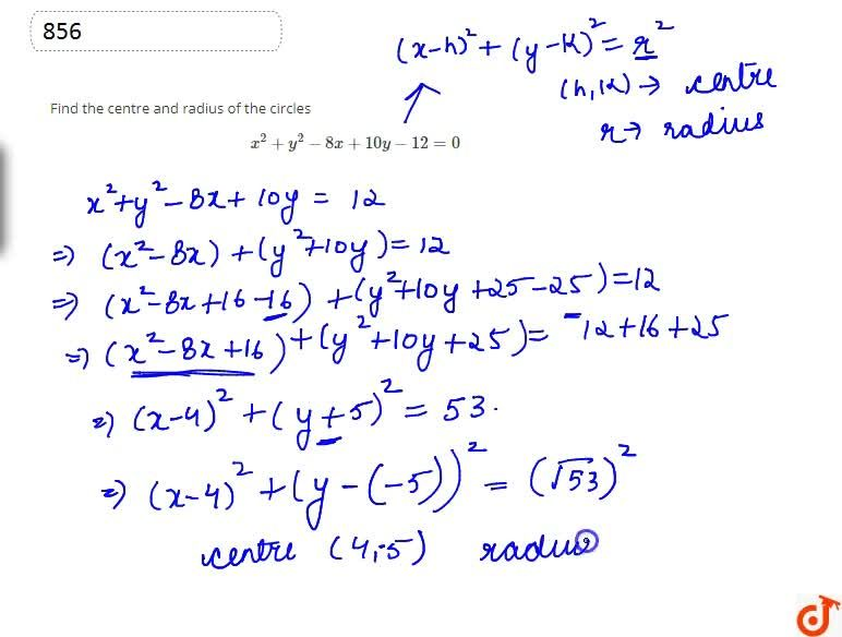 Solution for Find the centre and radius of the circlesx^2+y^2-
