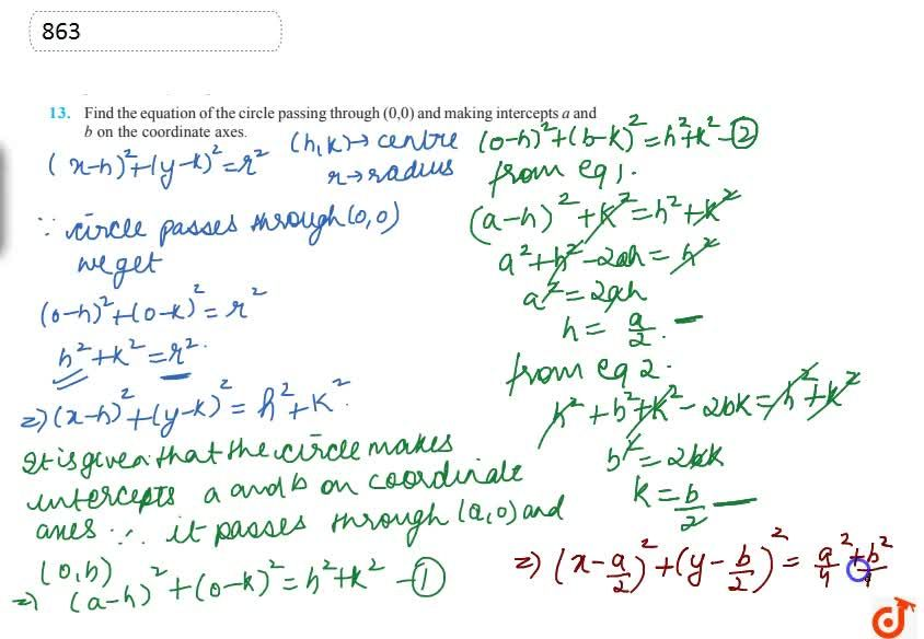 Solution for Find the equation of the circle passing through (0