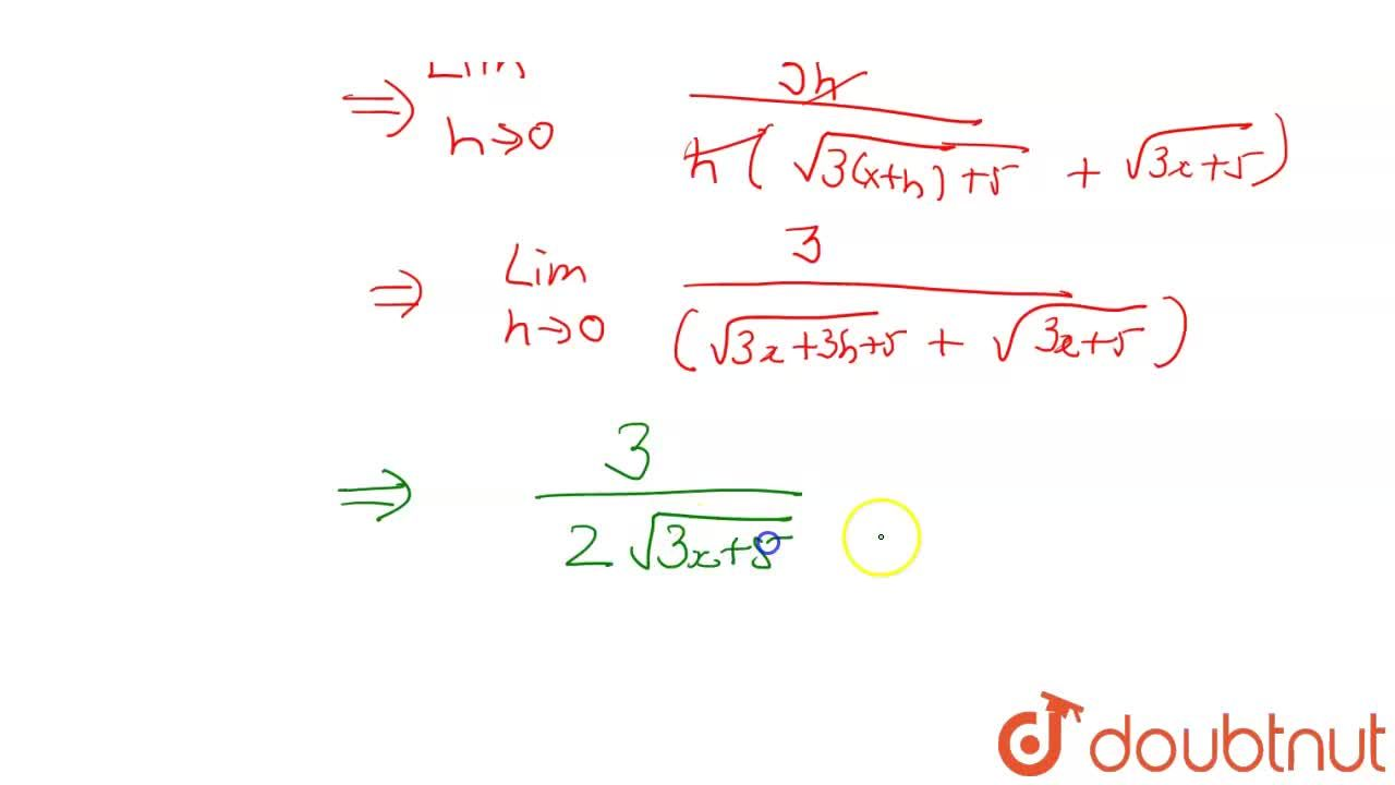 Find the derivative of sqrt(3x + 5) using first principle of derivative