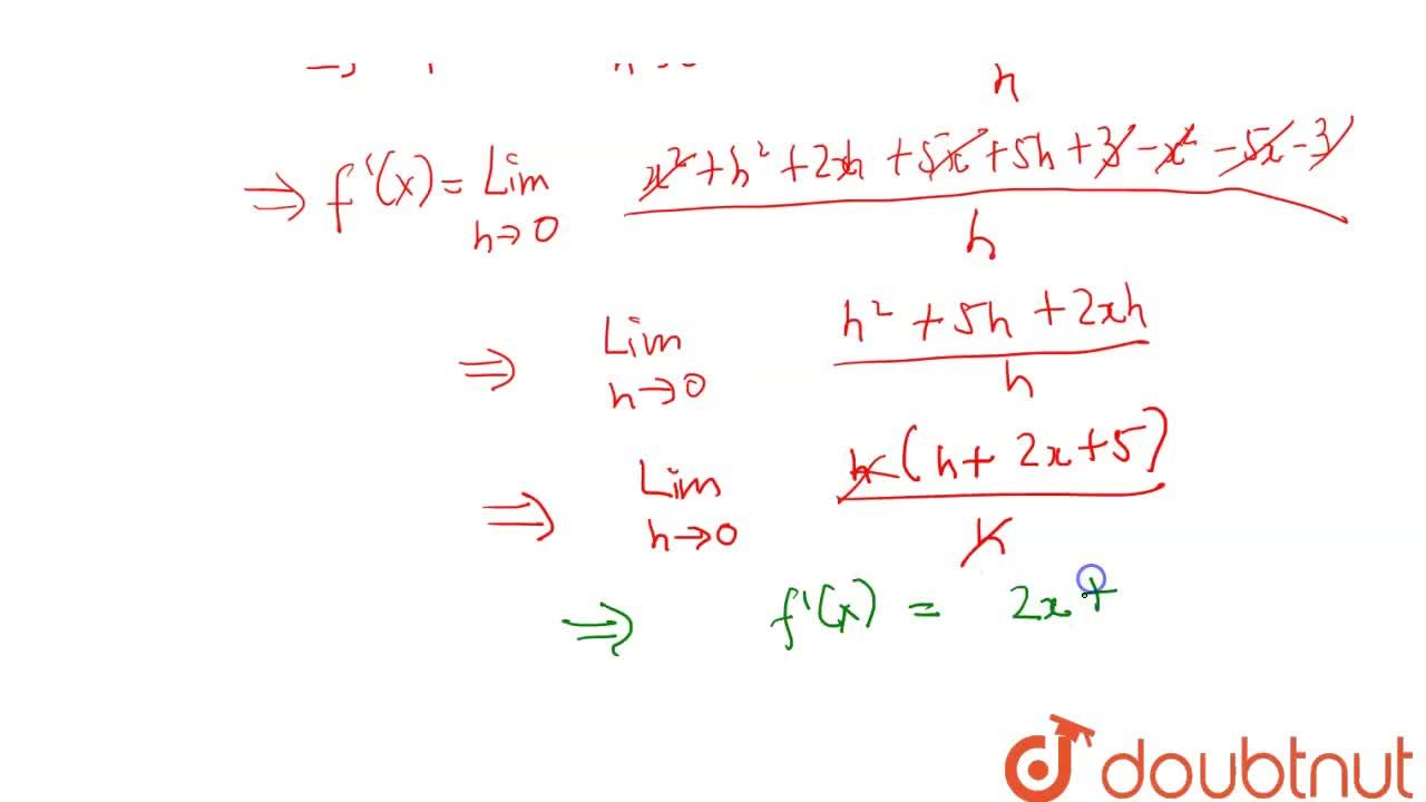 Find the derivative of x^(2) + 5x + 3 using first principle of derivative.