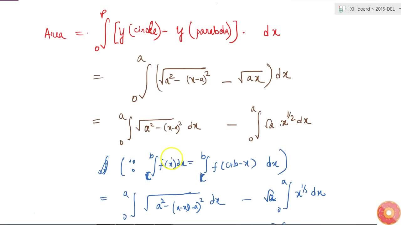 """Solution for Using integration find the area of the region """"{"""""""