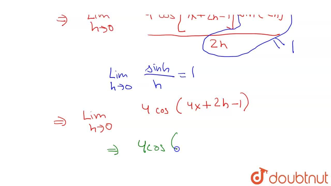 Find the derivative of sin(4x - 1) using first principle of derivative