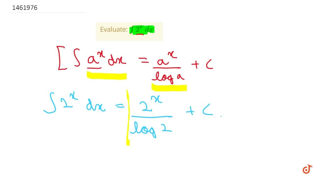 Solution for Evaluate: int2^x\ dx