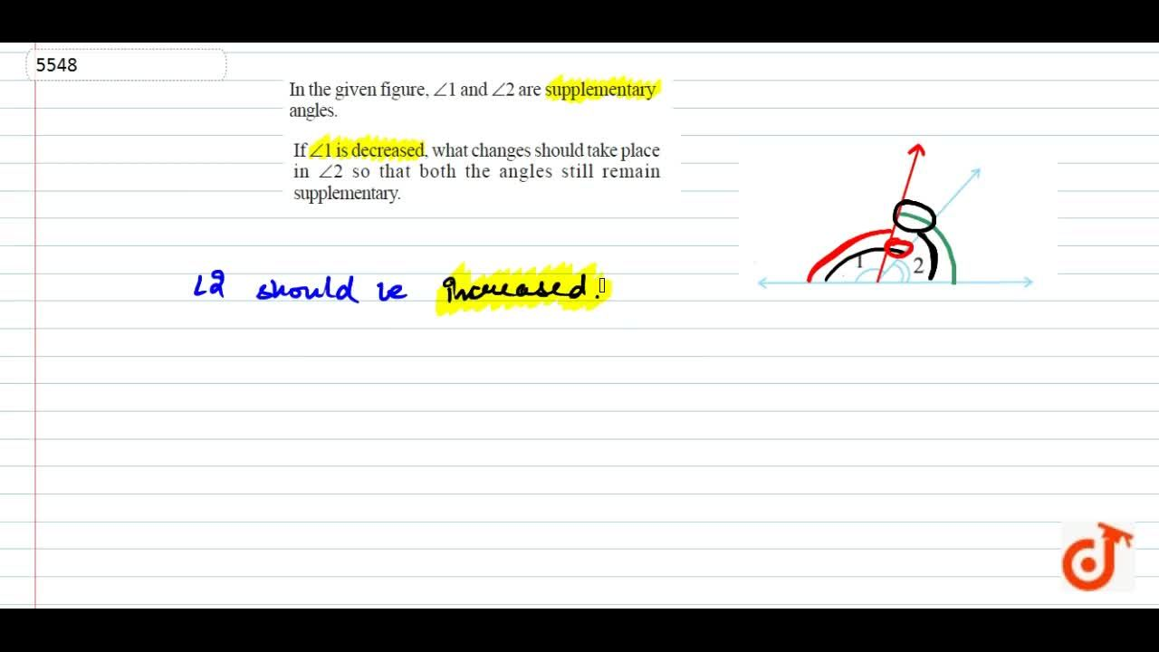 In the given figure, ?1 and ?2 are supplementary angles. If ?1 is decreased, what changes should take place in ?2 so that both  the angles still remainsupplementary.