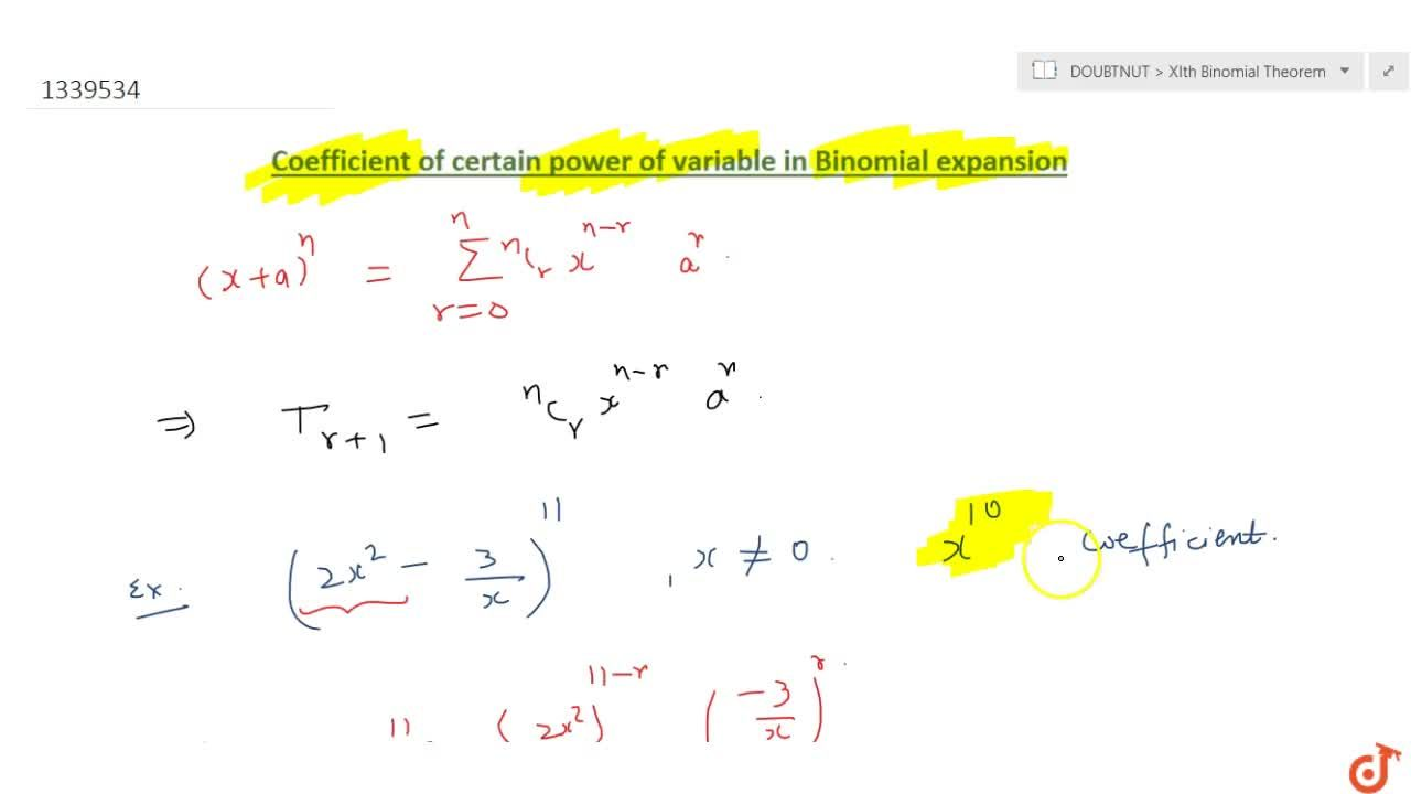 Coefficient of certain power of variable in binomial