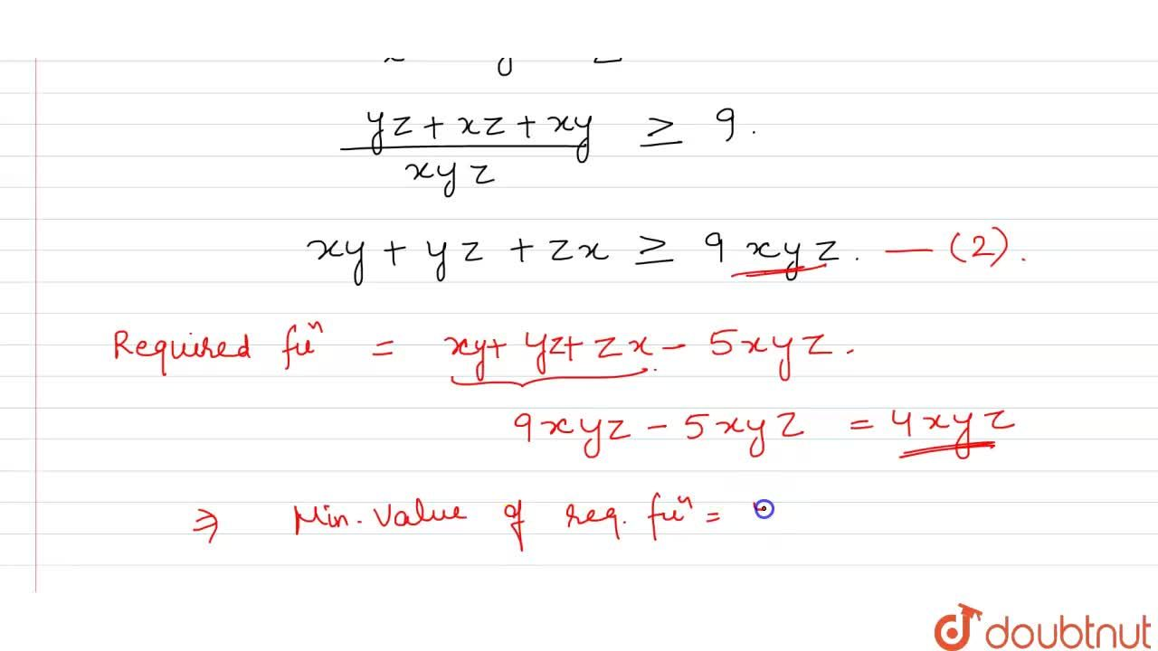 Solution for If x+y+z=1, then the minimum value of <br>xy(x+