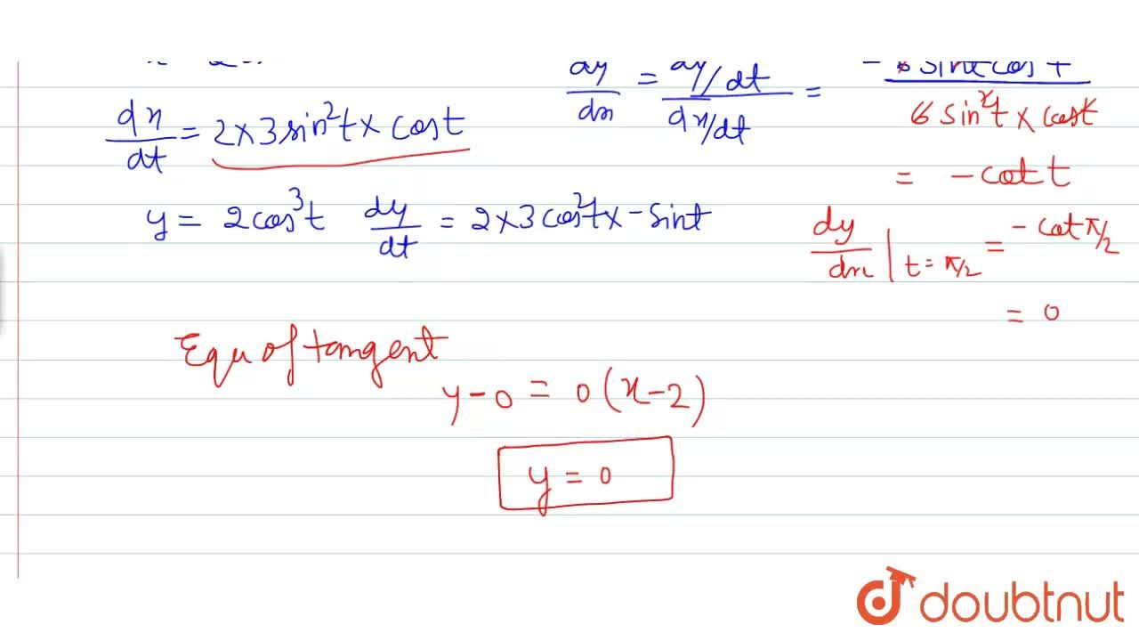 Solution for Find the equation of tangent to the curve given by