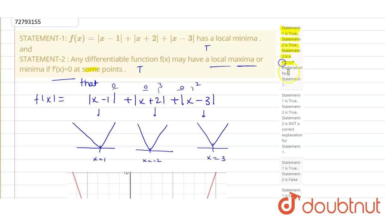 Solution for STATEMENT-1: f(x)=|x-1|+|x+2|+|x-3| has a local