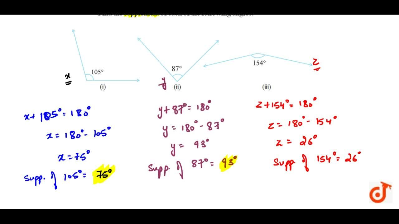 Solution for Find the supplement of each of the following angle