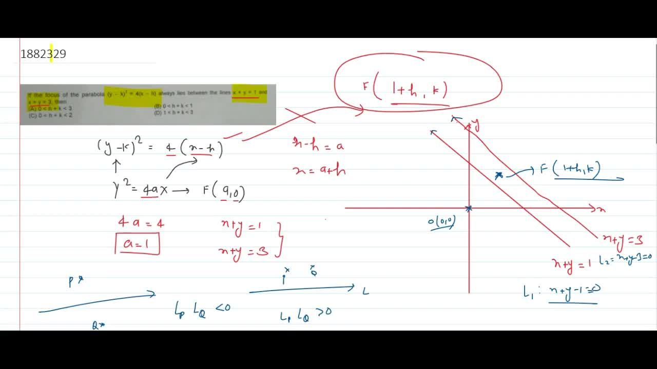 Solution for If the focus of the parabola (y - k)^2 = 4(x - h)