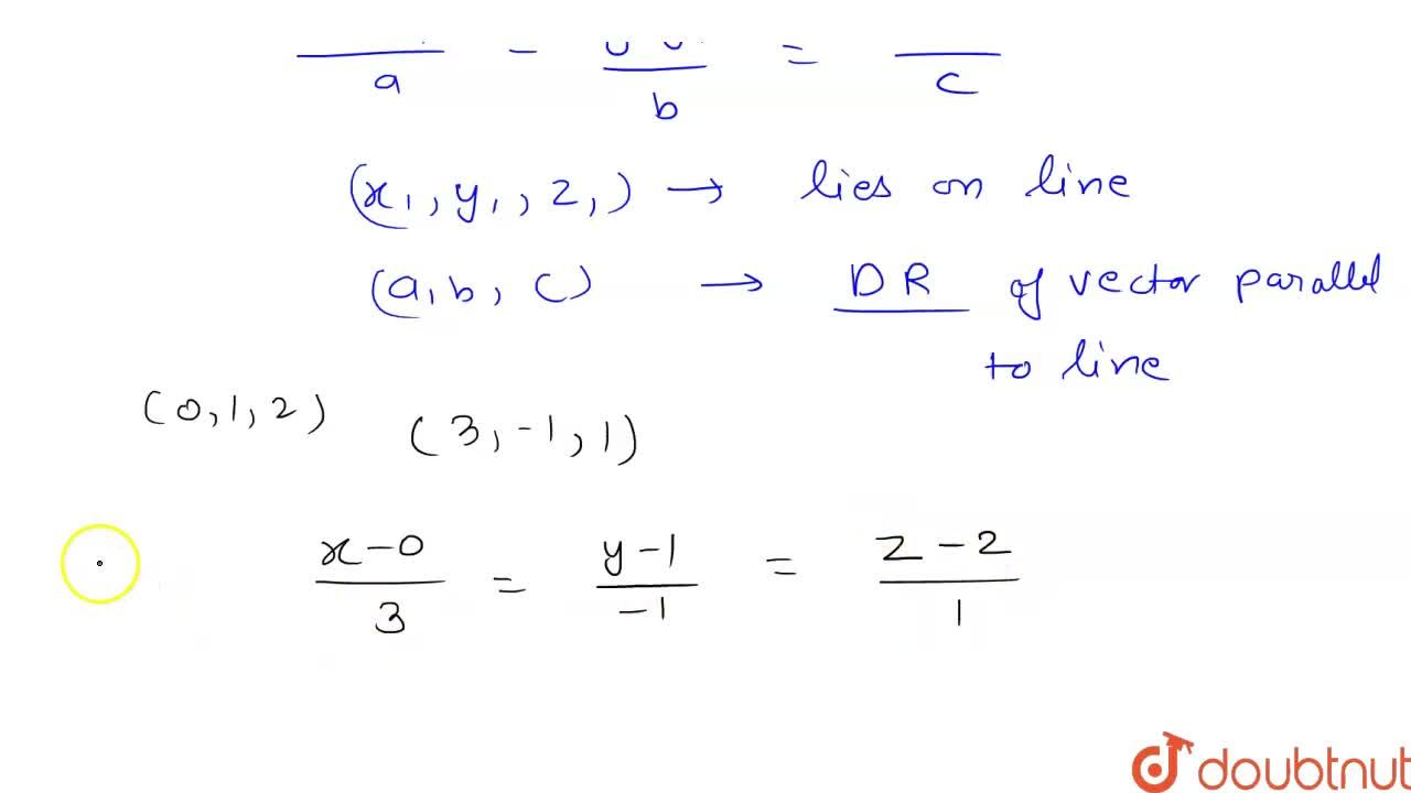 Solution for Find the equation of line in Cartesian form passin