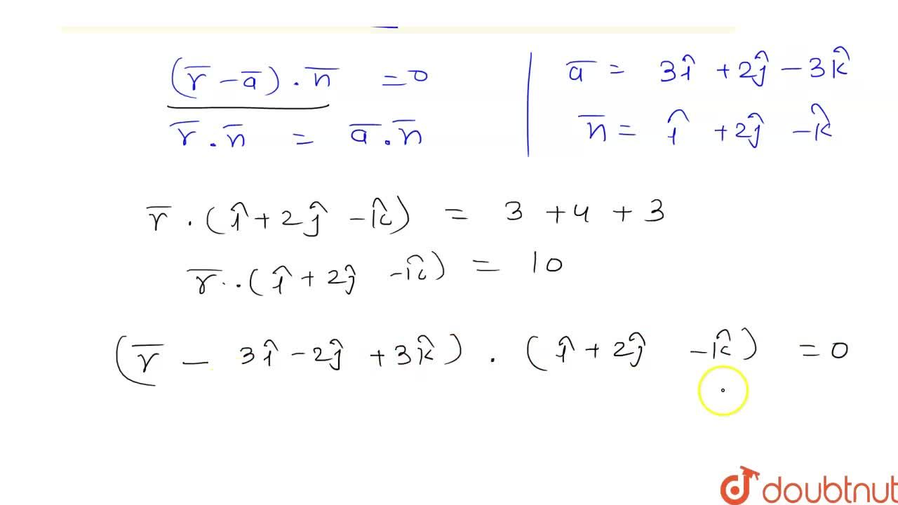 Solution for Find the vector equation of tha plane which passes